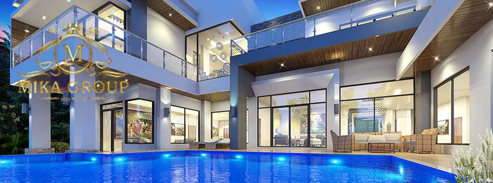 บริษัทรับสร้างบ้าน : แบบบ้านหรูทุกสไตล์พร้อมสระว่ายน้ำ